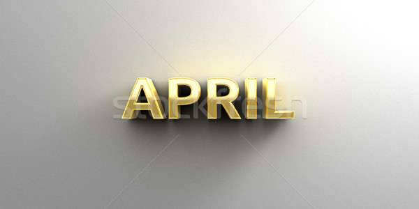 April month gold 3D quality render on the wall background with s Stock photo © akaprinay