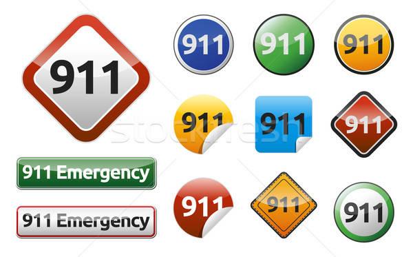 Emergenza chiamata 911 isolato pulsante raccolta Foto d'archivio © akaprinay