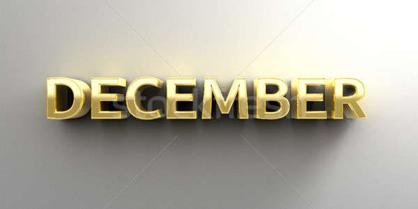 December month gold 3D quality render on the wall background wit Stock photo © akaprinay