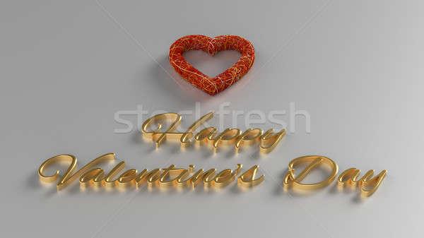 Gelukkig valentijnsdag 3d render goud tekst Rood Stockfoto © akaprinay