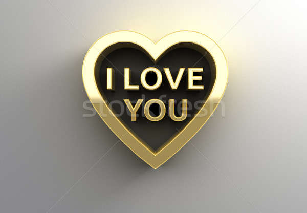 I Love You in heart - gold 3D quality render on the wall backgro Stock photo © akaprinay