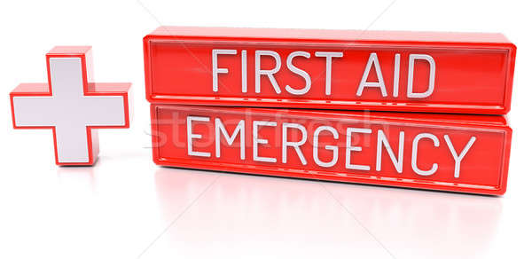 First aid, Emergency - 3d banner, isolated on white background Stock photo © akaprinay