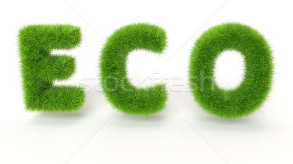 ECO - Green grass text on white background - High quality 3D Ren Stock photo © akaprinay