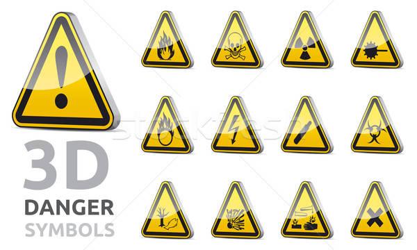 Segno di pericolo 3D isolato vettore triangolo pericolo Foto d'archivio © akaprinay