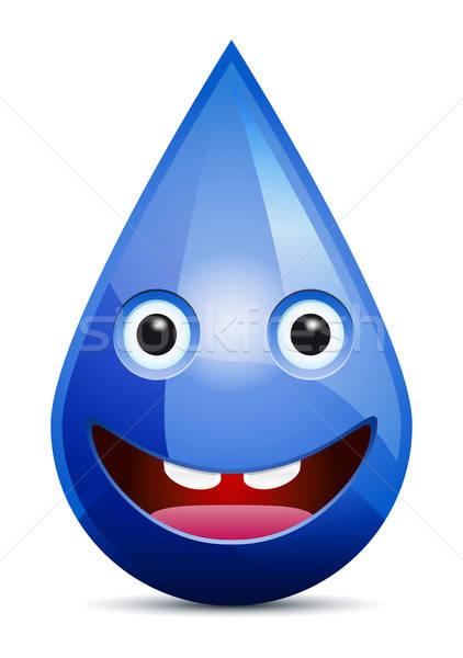 Waterdruppel lachend gezicht emoticon witte water gezicht Stockfoto © akaprinay