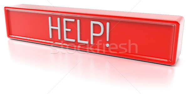 Help isolato rendering 3d rosso banner testo Foto d'archivio © akaprinay