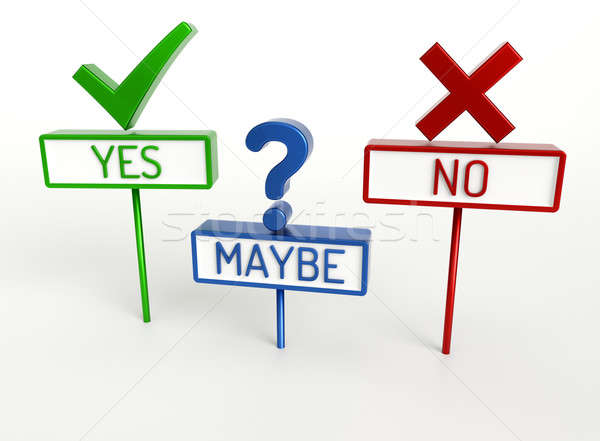Stock photo: Yes No Maybe - High quality 3D Render
