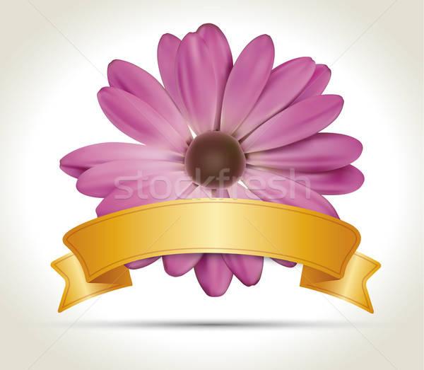 Nastro vettore fiore rosa oro wedding Foto d'archivio © akaprinay