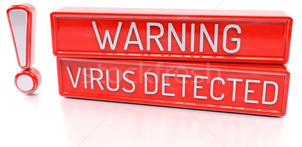 Stock photo: Warning Virus Detected - 3d banner, isolated on white background