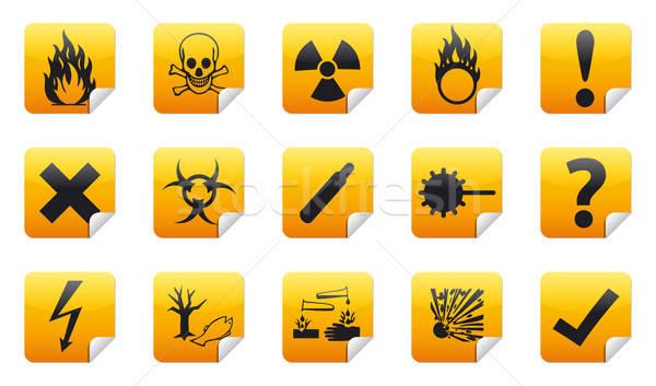 Danger sticker icon Stock photo © akaprinay