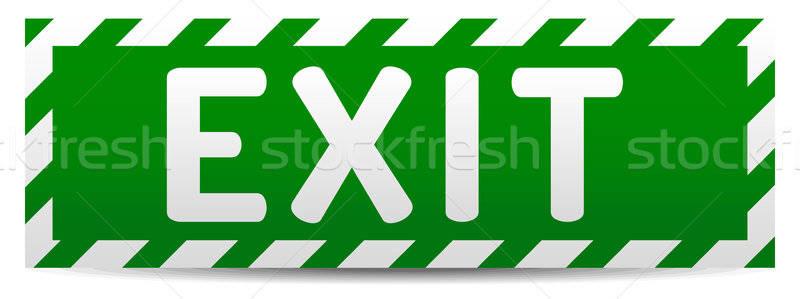 Kijárat jelzés zöld kijárat tábla tükröződés árnyék Stock fotó © akaprinay