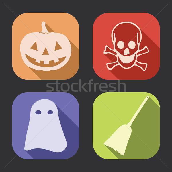 Halloween long shadow icon Stock photo © akaprinay