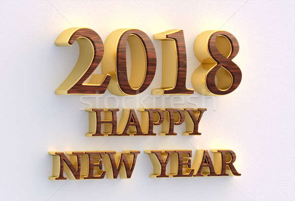 Stock photo: Happy New Year 2018. Gold and wood text - 3D design template on