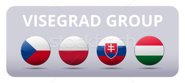 V4 Visegrad group country flag Stock photo © akaprinay