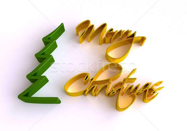 Christmas Greeting Card. 3D Merry Christmas lettering. Stock photo © akaprinay