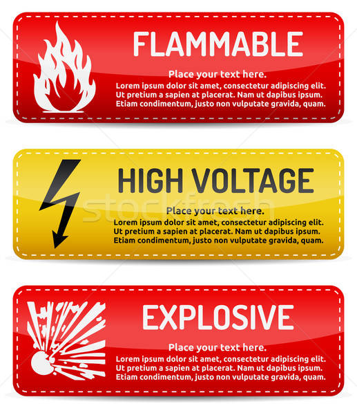 Flammable, High Voltage, Explosive - Danger sign set Stock photo © akaprinay