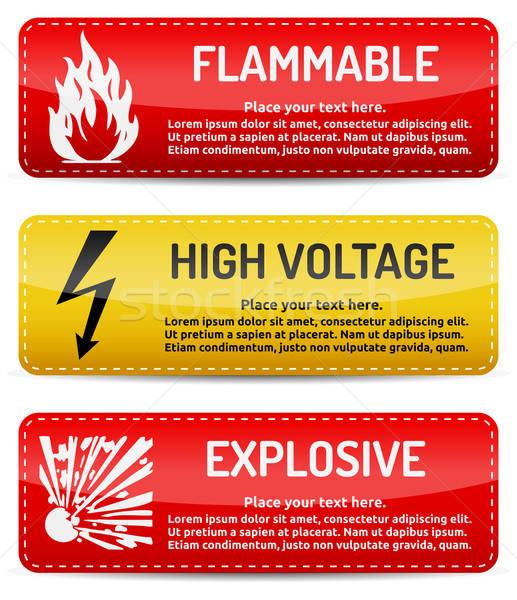 легковоспламеняющийся высокое напряжение взрывной знак опасности набор опасность Сток-фото © akaprinay