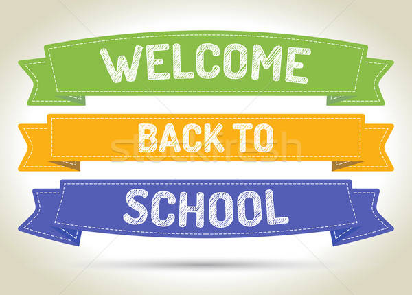 Welcome back to school - pen style text on colorized ribbons wit Stock photo © akaprinay