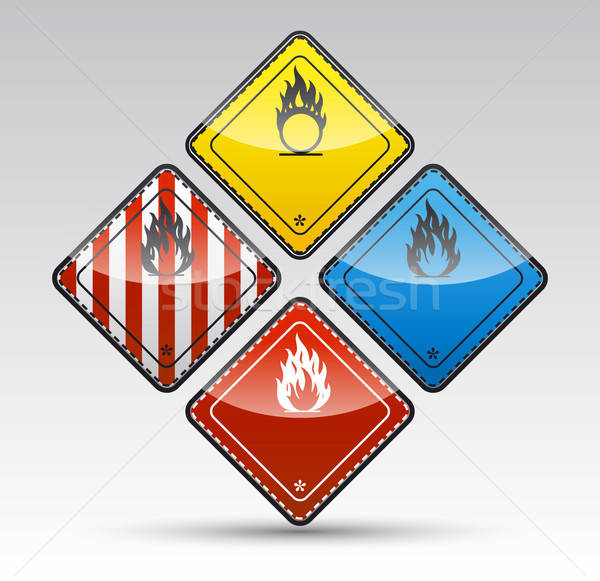 Danger round corner warning sign set Stock photo © akaprinay