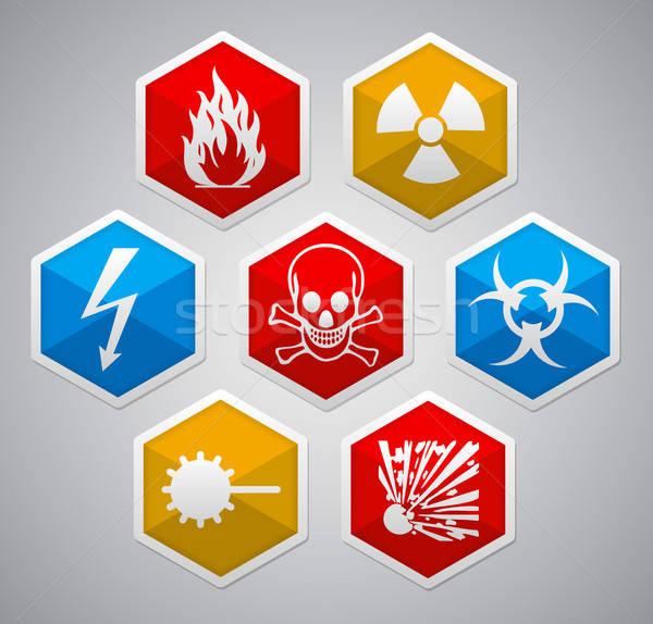 Stock photo: Danger hexagon icon