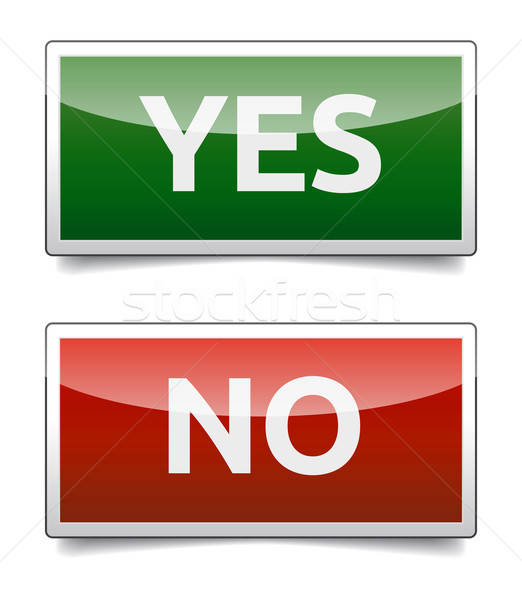 YES - NO color board with shadow on white background. Stock photo © akaprinay