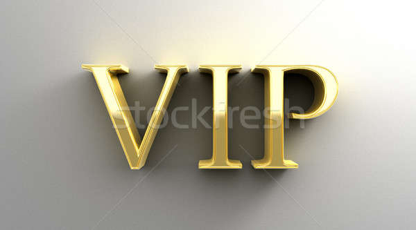 VIP - gold 3D quality render on the wall background with soft sh Stock photo © akaprinay