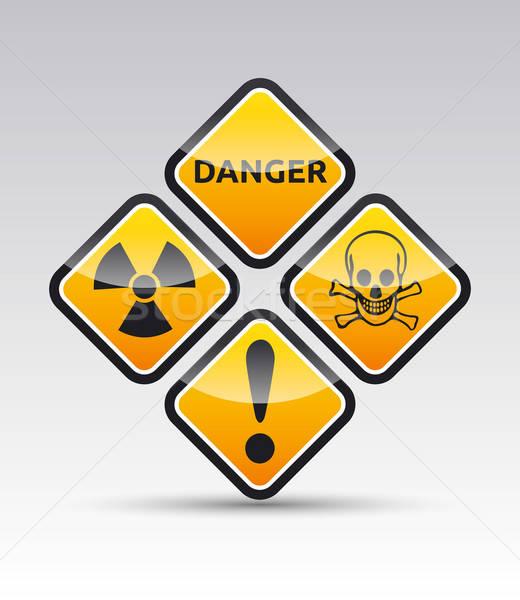 Gevaar waarschuwing symbool collectie geïsoleerd vector Stockfoto © akaprinay