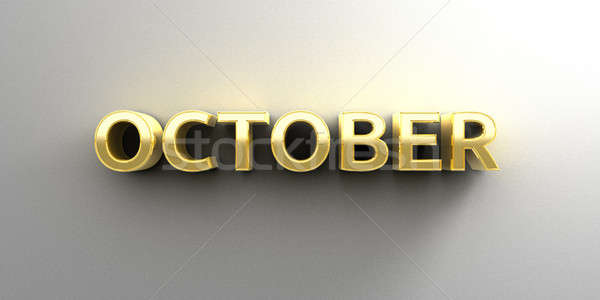 October month gold 3D quality render on the wall background with Stock photo © akaprinay