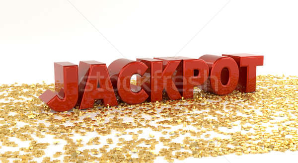 Jackpot - Red text on gold stars - High quality 3D Render Stock photo © akaprinay