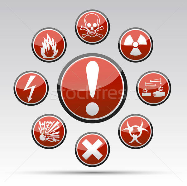 Stock photo: Circle Danger sign collection