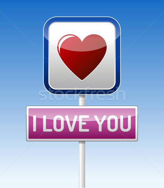 Amore traffico bordo rosso cuore cielo blu Foto d'archivio © akaprinay