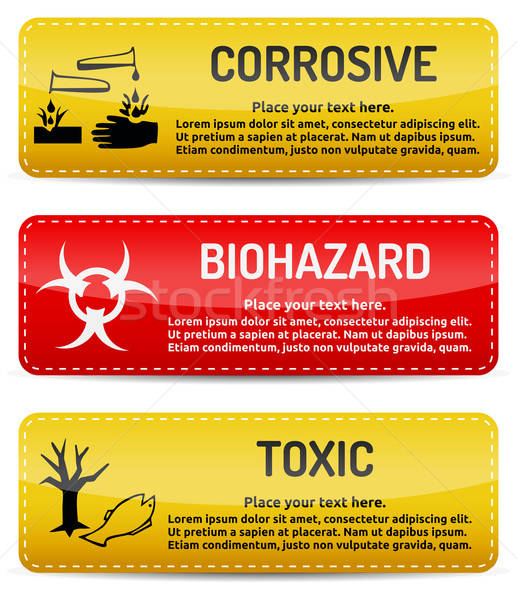 Corrosive, Biohazard, Toxic - Danger sign set Stock photo © akaprinay