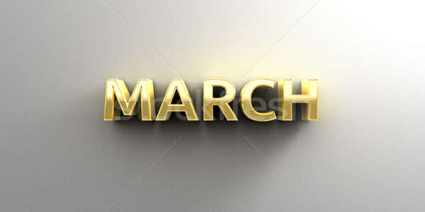 March month gold 3D quality render on the wall background with s Stock photo © akaprinay