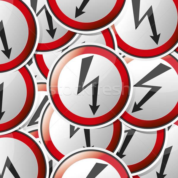 Gevaar risico teken icon sticker stijl Stockfoto © akaprinay