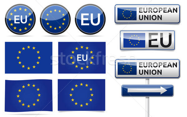 Europese eu vlag collectie unie verkeer Stockfoto © akaprinay