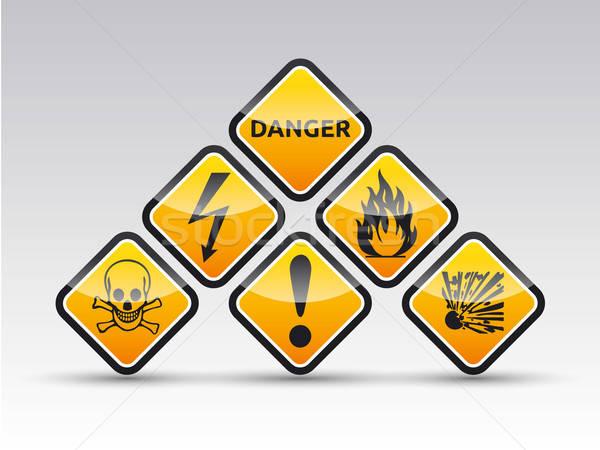 Danger round corner warning sign set Stock photo © akaprinay