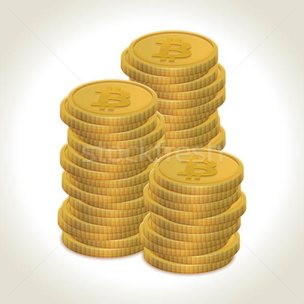 Bitcoin monete soldi luce ombra business Foto d'archivio © akaprinay