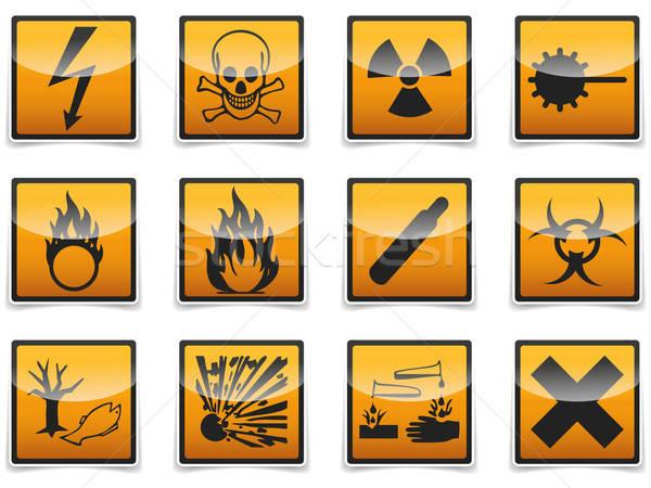 Danger symbols icon Stock photo © akaprinay