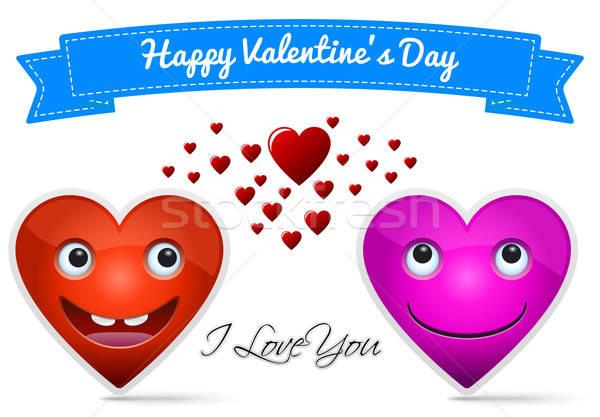 Felice san valentino due cuore amore arte Foto d'archivio © akaprinay