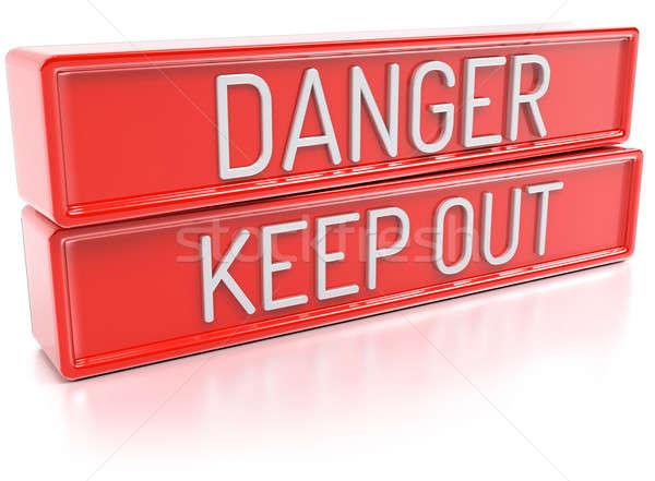 危険 外に 孤立した 3dのレンダリング 赤 バナー ストックフォト © akaprinay