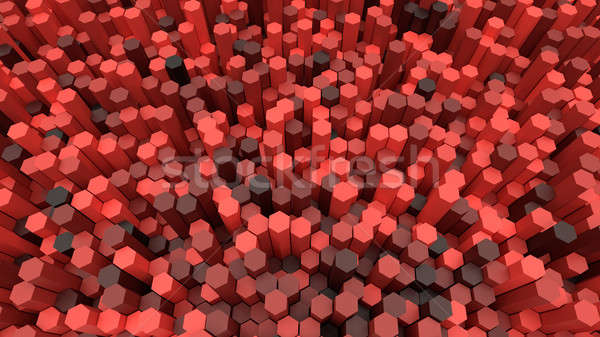 3d background hexagons of different height Stock photo © akaprinay