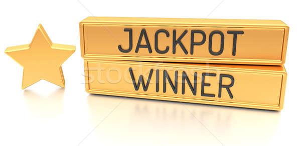 Jackpot kazanan 3D afiş yalıtılmış beyaz Stok fotoğraf © akaprinay