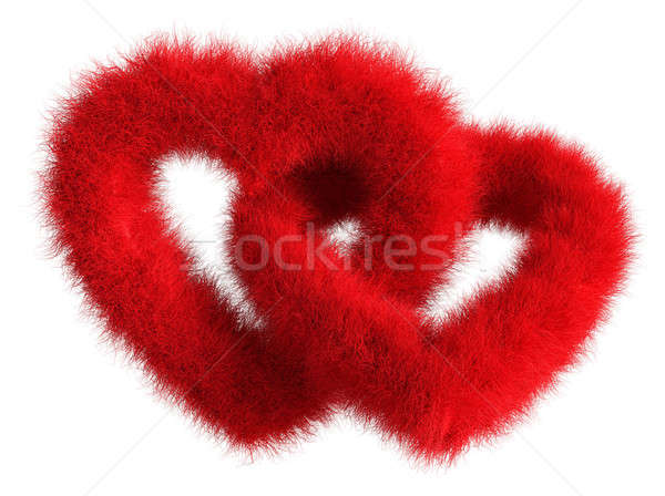 Two joined red plush hearts on white background - Isolated 3D Re Stock photo © akaprinay
