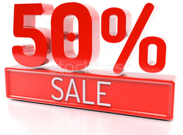 50% sale, 50 percent, 3d discount banner - isolated, on white ba Stock photo © akaprinay