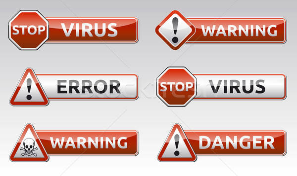 Danger virus warning icon Stock photo © akaprinay