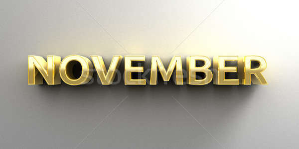 November month gold 3D quality render on the wall background wit Stock photo © akaprinay
