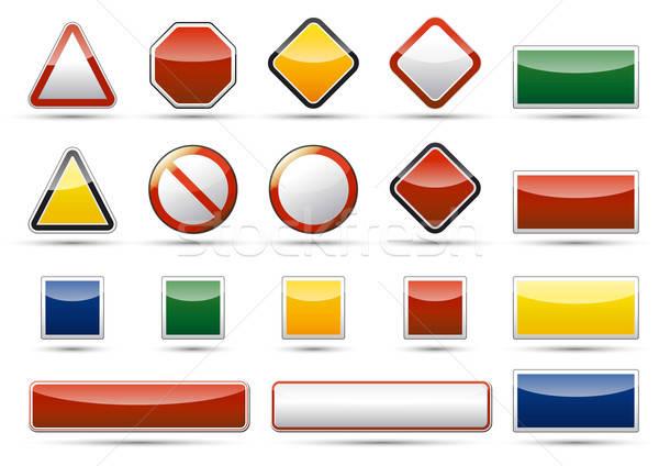 Tehlike ikon elemanları yalıtılmış vektör uyarı Stok fotoğraf © akaprinay