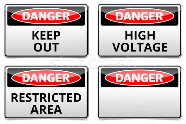 Gevaar teken verbod plaats tekst boord reflectie Stockfoto © akaprinay