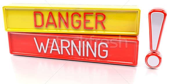 Pericolo allarme 3D banner isolato bianco Foto d'archivio © akaprinay