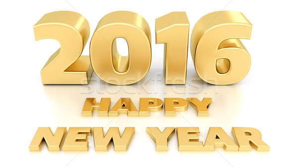 Happy new year 2016 isolé 3D modèle de conception blanche Photo stock © akaprinay